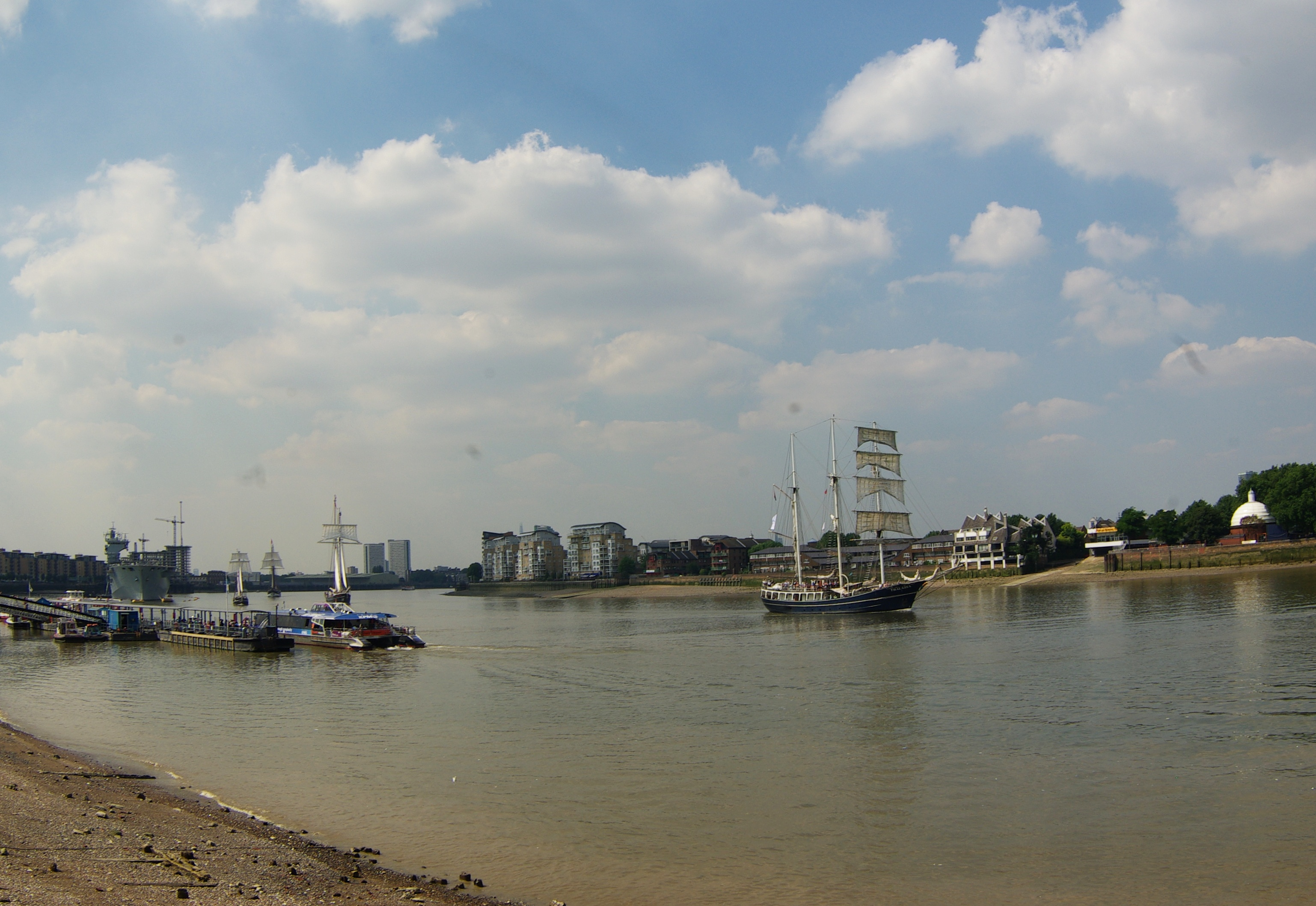 Tall ships on the Thames