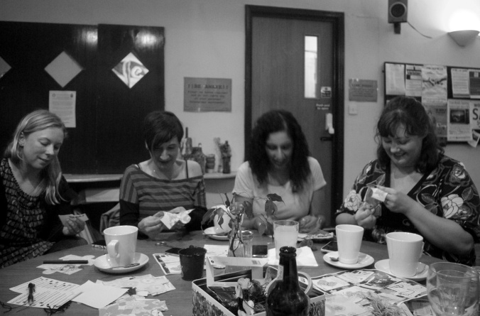 The #imapiece stitch in craft night at RISC Reading