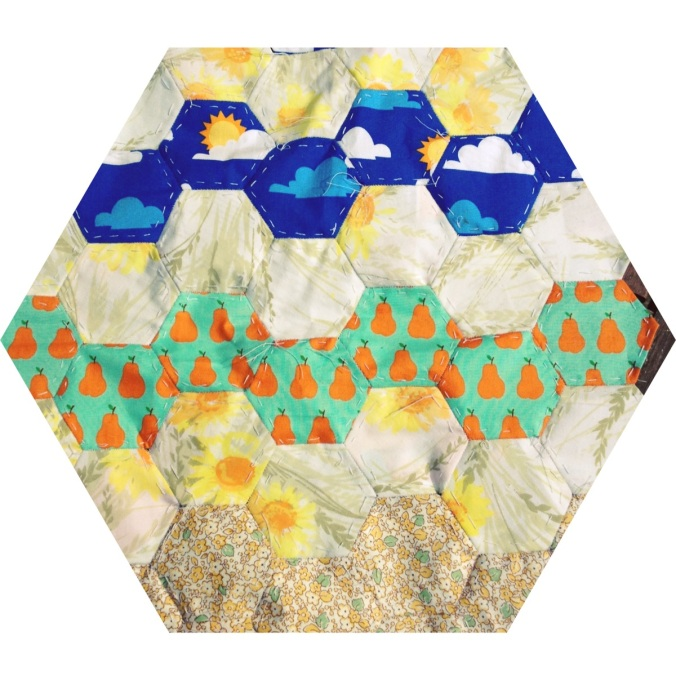 Hexagonal paperpieced patchwork