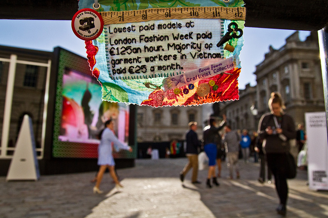 Mini Protest banner at London Fashion Week AW 2012 Somerset House