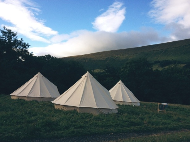 Little Stitch Blog: Bell tents on the hillside