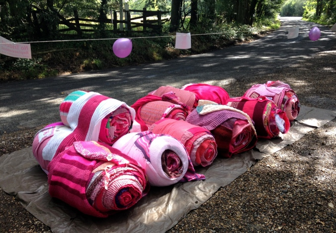 Rolls of Pink Knitting