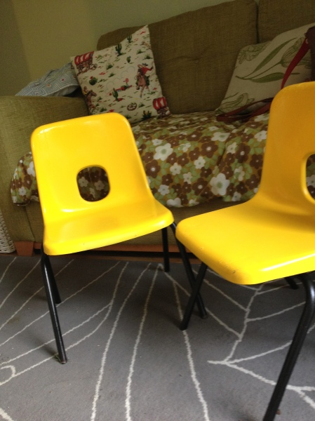 Yellow upcycled school chairs