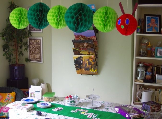Setting up the Hungry Caterpillar Birthday Party
