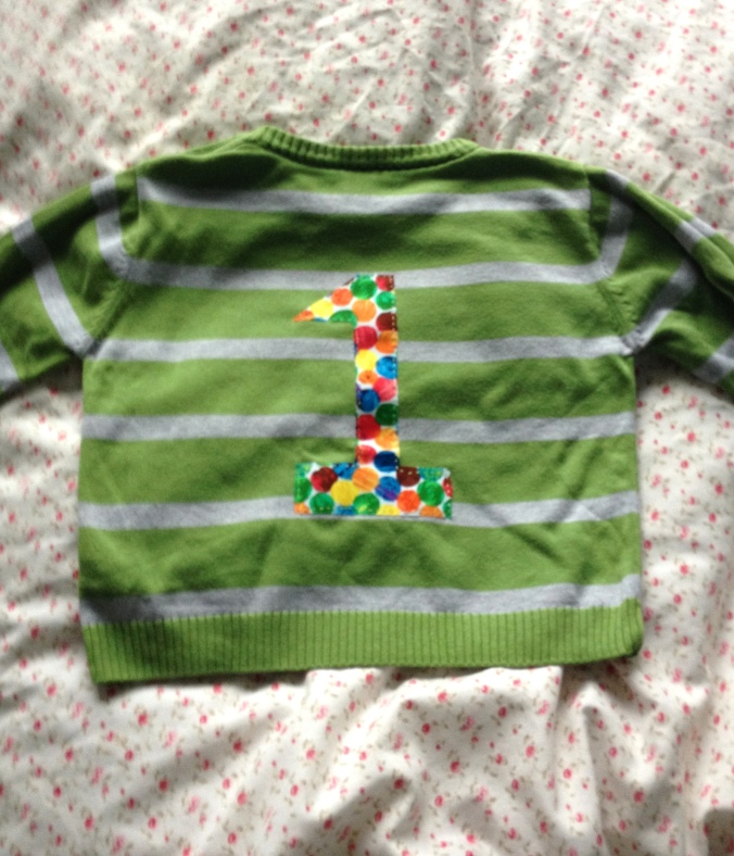 Back of upcycled baby jumper